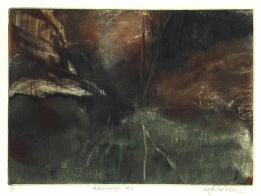 image of landscape monotype print Abkhazi #1 by David Ladmore depicting the Abkhazi Gardens, Victoria, BC