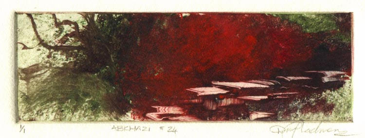 image of landscape monotype print Abkhazi #24 by David Ladmore depicting the Abkhazi Gardens, Victoria, BC
