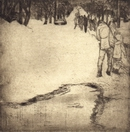image of etching After the Storm by David Ladmore depicting James Bay, Victoria, BC after the Blizzard of '96