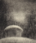 image of landscape drypoint etching Aviary by David Ladmore