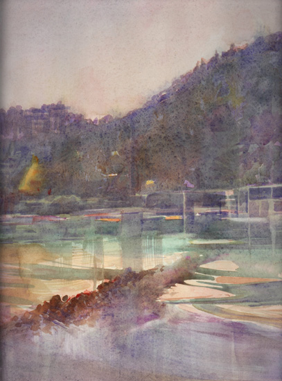 image of watercolor landscape painting Bowen Island, Evening by David Ladmore