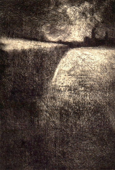 image of landscape etching with drypoint print Cornfield by David Ladmore