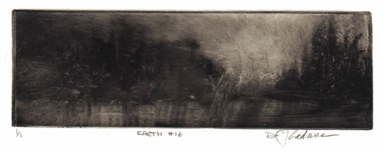 image of landscape monotype print Earth #16 by David Ladmore