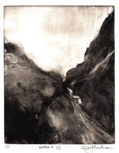 image of landscape monotype print Earth #25 by David Ladmore