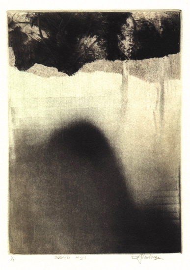 image of landscape monotype print Earth #21 by David Ladmore