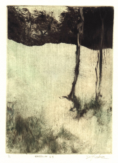 image of landscape monotype print Earth #23 by David Ladmore