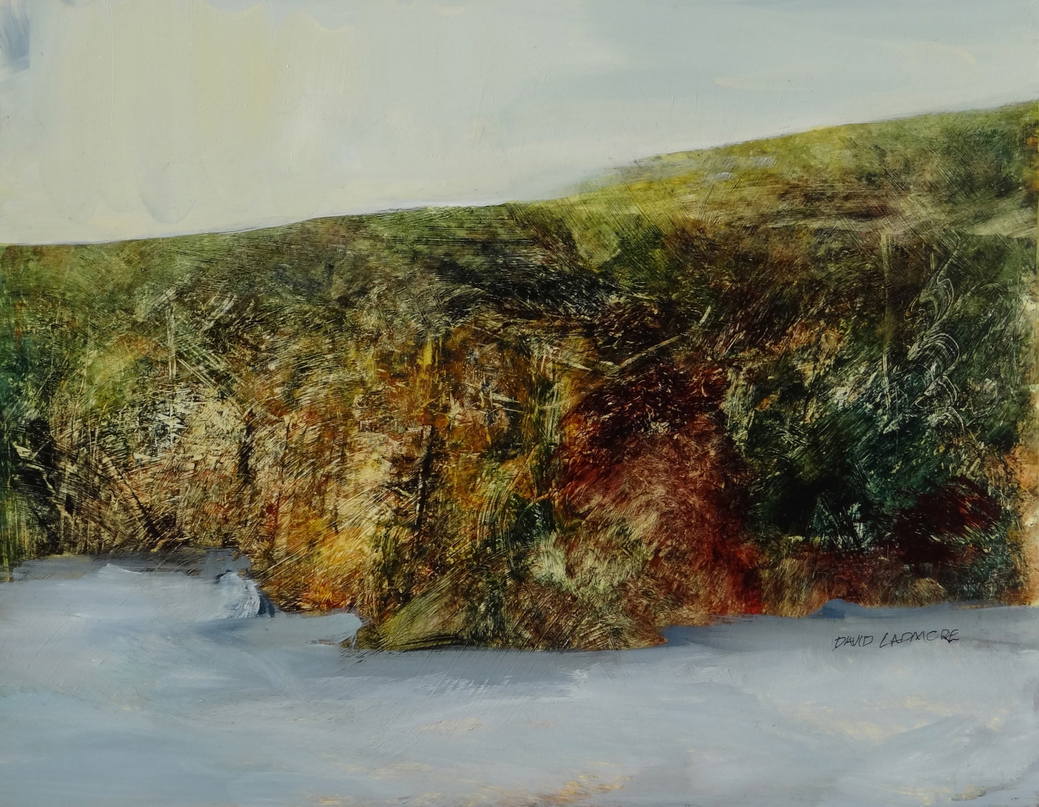 image of coastal landscape oil painting Elemental 56 by David Ladmore