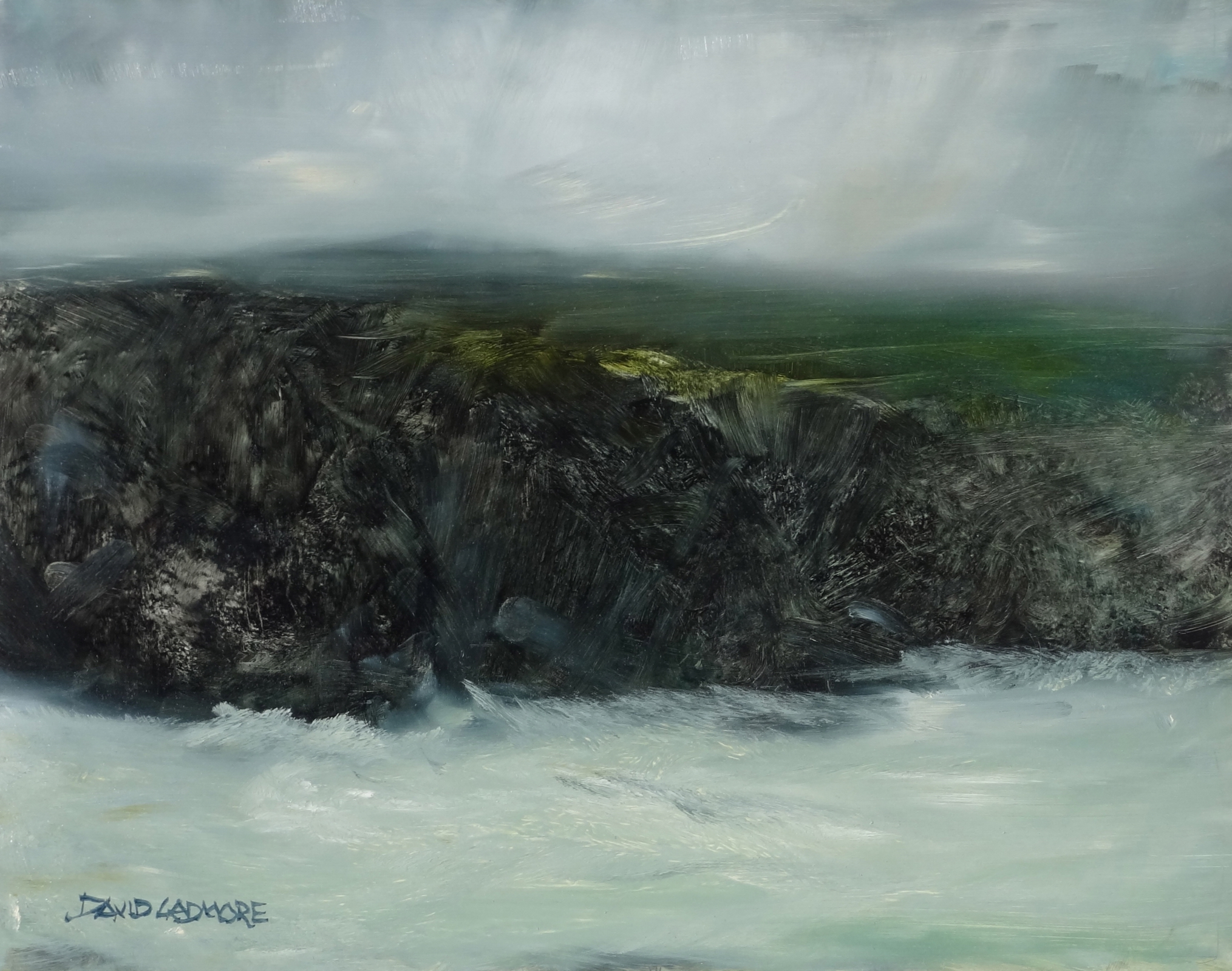 image of coastal landscape oil painting Elemental 62 by David Ladmore