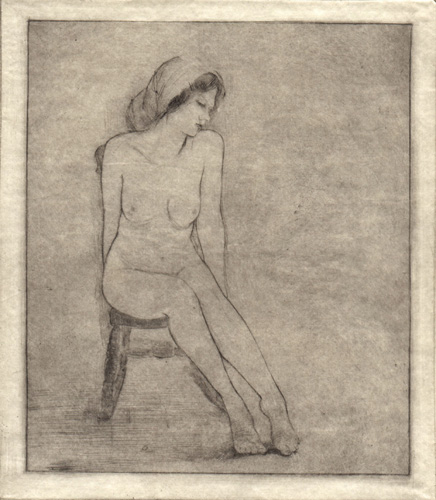image of figurative drypoint print Figure Study V by David Ladmore