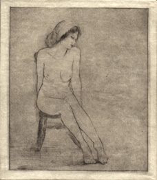 image of figurative drypoint Figure Study V by David Ladmore