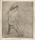 image of figurative drypoint etching Figure Study V by David Ladmore