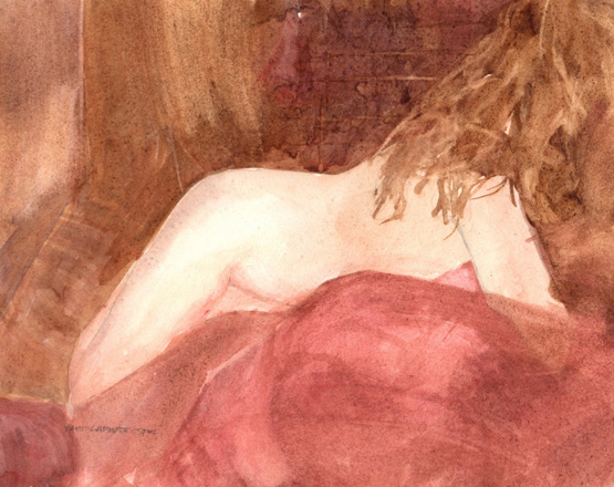 image of watercolor nude Figure Study #4 by David Ladmore