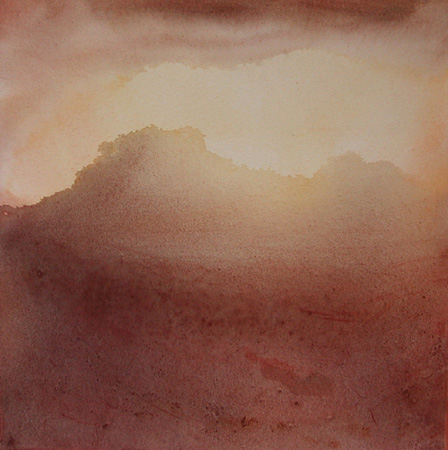 image of watercolor landscape painting First Light by David Ladmore
