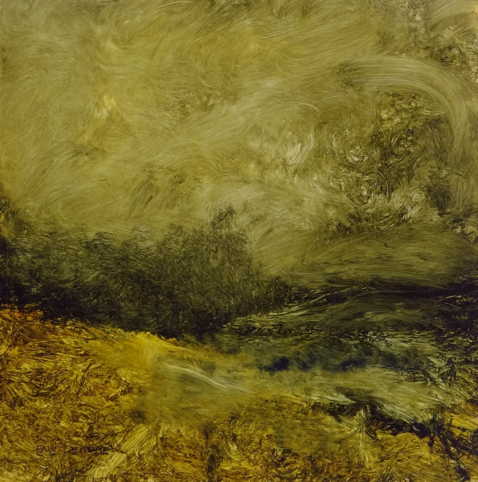 image of landscape oil painting Green and Gold 9 by David Ladmore