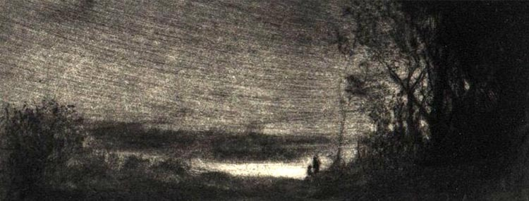 image of landscape drypoint print Hymn V by David Ladmore depicting the Dallas Road area of Victoria, BC