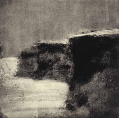 image of landscape monotype print Ireland VI by David Ladmore depicting an Irish landscape