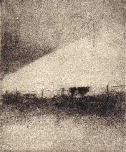 image of landscape drypoint print Ireland III by David Ladmore depicting an Irish landscape