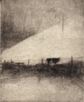 image of landscape drypoint etching Ireland III by David Ladmore depicting an Irish landscape