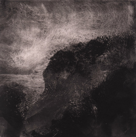 image of landscape monotype print Ireland II by David Ladmore depicting an Irish landscape
