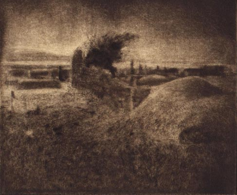 image of landscape drypoint print Ireland II by David Ladmore depicting an Irish landscape