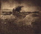 image of landscape drypoint etching Ireland II by David Ladmore depicting an Irish landscape