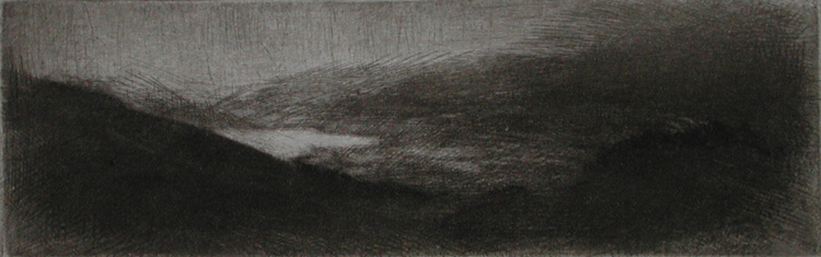 image of landscape drypoint etching Ireland IV by David Ladmore