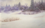 image of watercolor landscape painting Island Winter by David Ladmore