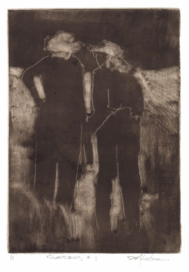 image of figurative monotype print Islanders #1 by David Ladmore