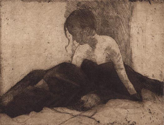 image of figurative etching print James Bay Interior IV by David Ladmore