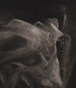 detail from figurative mezzotint James Bay Interior III by David Ladmore
