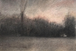 image of charcoal and watercolor drawing January Evening by David Ladmore