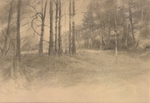 image of landscape goldpoint and silverpoint drawing Landscape Variations I by David Ladmore