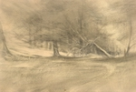 image of landscape goldpoint and silverpoint drawing Landscape Variations II by David Ladmore