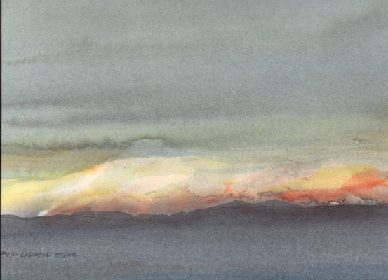 image of watercolor landscape painting Last Light by David Ladmore