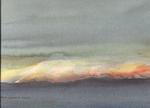 image of landscape watercolour painting Last Light by David Ladmore