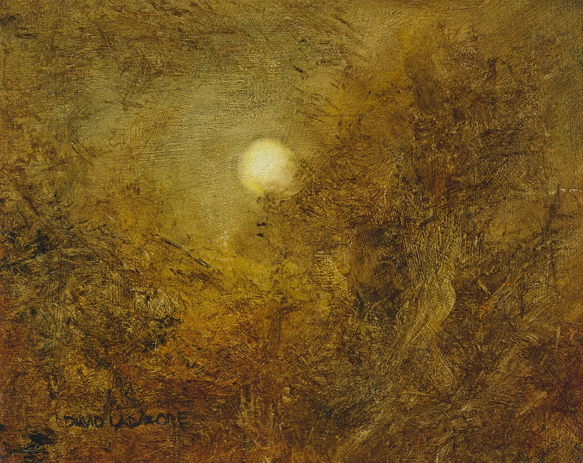image of landscape oil painting with moon Lunar 51 by David Ladmore