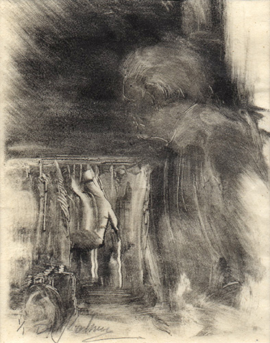 image of figurative monotype print Market People I by David Ladmore
