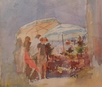 image of watercolor painting Market People VIII by David Ladmore