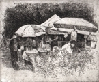 image of etching with drypoint Market People VII by David Ladmore
