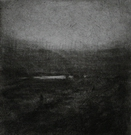 image of landscape drypoint with mezzotint etching Marnie's Walk by David Ladmore