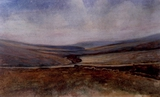 image of watercolor landscape painting Moorland Landscape by David Ladmore