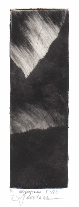 image of landscape monotype print Mountain Fire by David Ladmore