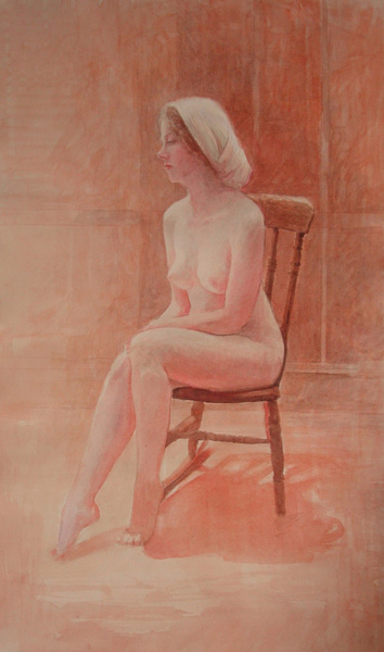 image of figurative watercolor painting Nude On Rocking Chair #2 by David Ladmore