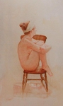 image of watercolor nude Nude On Rocking Chair by David Ladmore