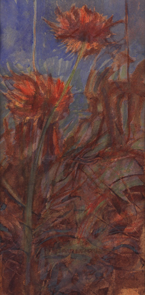 image of floral watercolor painting Orange and Blue by David Ladmore