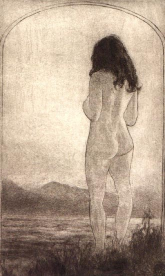 image of figurative drypoint print Pacific Ocean by David Ladmore