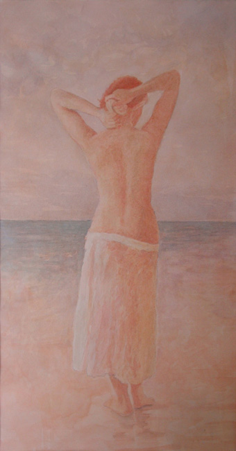 image of figurative watercolor painting Pacific Ocean #2 by David Ladmore