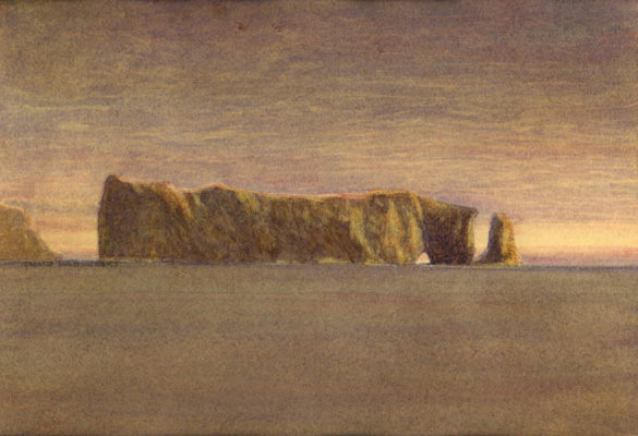 image of watercolour landscape painting Perce Rock by David Ladmore