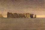 image of watercolor landscape painting Perce Rock by David Ladmore