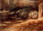 image of watercolor painting Pig Nap by David Ladmore